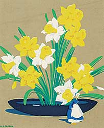 #416 ~ Casson - Daffodils with Delph Figure